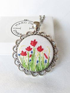 Poppy pendant Poppy necklace Hand embroidery necklace Floral pendant French knot pendant Stitched necklace Red pendant