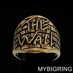 STUNNING ROUND BRONZE MENS TRIBUTE RING PINK FLOYD THE WALL ANTIQUED ANY SIZE  | eBay