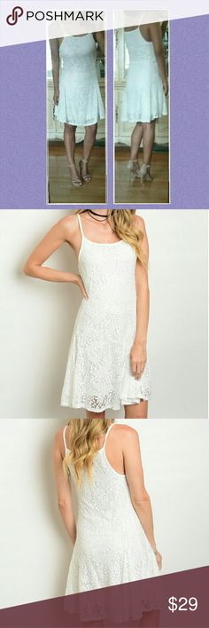 🌷 OFF WHITE LACE CAMI DRESS SMALL MEDIUM LARGE This dress is simply elegant and sweet with it's all over lace cami style. Great for those summer night dates or for a bridal shower. So romantic and sweet. Brand new dress without tags.Available in sizes Small Medium or Large. 10%off 2 +.       🌻TOP Rated Ebay seller. Check out my feedback!   Dresses Midi