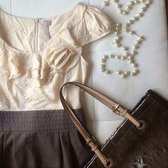 a'gaci Dresses & Skirts - Host Pick!!! Dressy Ivory and dark khaki dress