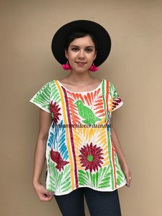 Floral embroidered mexican huipil, mexican blouse women, hand embroidered women top, blusa mexicana, short sleeve blouse, birds huipil, coco Mexican Blouse, Mexican Outfit, Mexican Dresses, Mexican Birthday, Mexican Party, Hippie Crochet, Embroidered Blouse, Short Sleeve Blouse, Hippie Boho