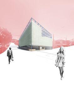 Zoe Ella. Victoria University, Wellington NZ.  http://cargocollective.com/zoeella Perspective | Render | Community Hub | Architecture | VUW | ARCI212