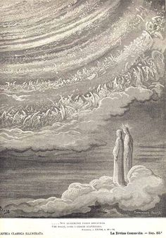 Dante and Beatrice see God as a point of light surrounded by angels (illustration by Gustave Doré), Canto 28 | chapter 68