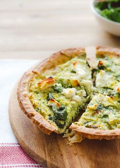 Brussels Sprouts, Baby Greens, and #Feta make the perfect #pie #pairing. [Promotional Pin]