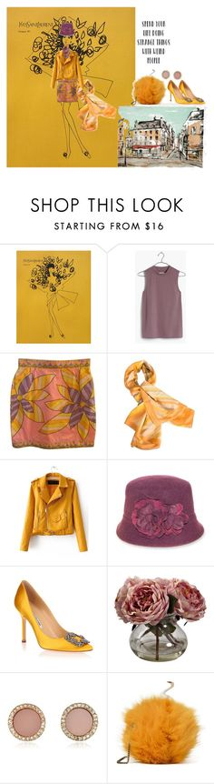 """Mixed Yellow Ochre"" by sandjpopescu ❤ liked on Polyvore featuring Yves Saint Laurent, Madewell, Emilio Pucci, Valentino, Nine West, Manolo Blahnik, Nearly Natural and Michael Kors"