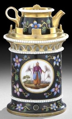 A fine~Paris~Porcelain~Veilleuse (Teapot on Stand) with with Blackground~With Chinoiserie Decoration`Origin France~Circa 1825-1850 by Divonsir Borges