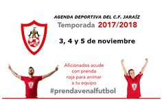 Agenda Deportiva de los equipos C.F. Jaraíz para el fin de semana 3, 4 y 5 de noviembre 2017 Club, News, Movie Posters, November, Day Planners, Sports, Daily Journal, Film Poster, Popcorn Posters