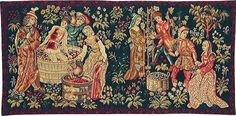 medieval tapestry - grapes harvest and wine-making tapestry in the Cluny Museum in Paris.