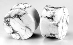 Double Flare WHITE PINE STONE HOWLITE Plug -  #stoneplugs #tunnels #plugs #painfulpleasures #stretchedears #bodyjewelry #stonejewelry #stonetunnels #piercings #gauged Jewelry Tattoo, Ear Jewelry, Stone Jewelry, Body Jewelry, Plugs Earrings, Gauges Plugs, Body Piercing, Piercings, Organic Plugs