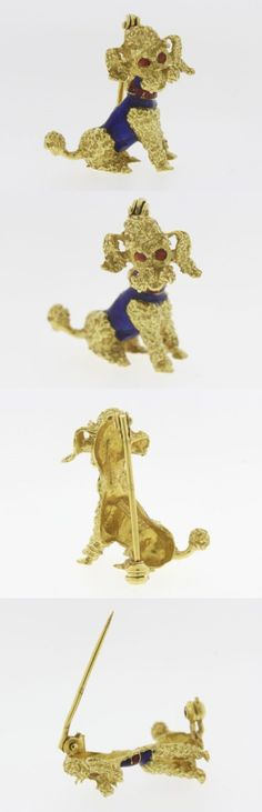 Precious Metal without Stones 164336: Adorable Blue And Red Enamel Dog Pin In Solid 18 Kt Yellow Gold BUY IT NOW ONLY: $599.99