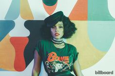 Janelle Monáe in David Bowie tee for a 2016 Billboard photo shoot.