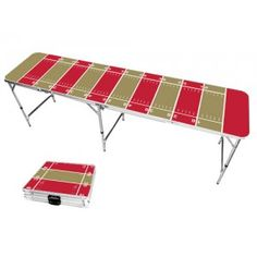 Gold & Red Football Field 8 Foot Portable Folding Tailgate Beer Pong Table from TailgateGiant.com
