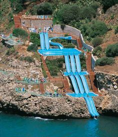How cool is this hotel slide in Sicily, Italy? The Città Del Mare Hotel Village provides some stunning scenery of the Terrasini coast plus it looks fun!