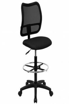 Flash Furniture Height Adjustable Drafting Stool With Cutout Fabric: Black  Fabric, Arms: Armless