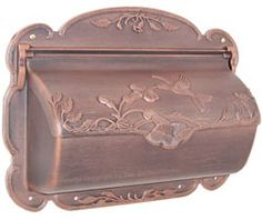 Hummingbird Horizontal Wall Mount Mailboxes Copper