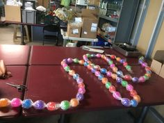 DIY Candy Garland - roll of clear cello and ball pit balls