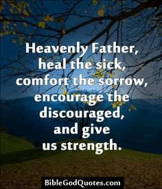 Heavenly Father, heal the sick, comfort the sorrow, encourage the discouraged, and give us strength.