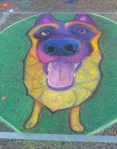 Houston sidewalk art dog