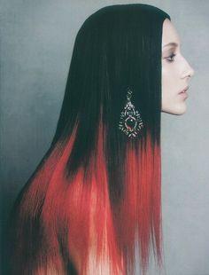 hair, hair color, multi-colored hair, tips, black hair, black, red hair, red