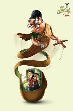 Anjali Kitchenware Fruit Peeler: Mother-in-law Indian Illustration, Creative Illustration, Character Illustration, Graphic Design Trends, Freelance Graphic Design, Ad Design, Ads Creative, Creative Advertising, Advertising Agency
