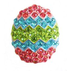 Easter Egg Parade Pin & Enhancer Silvertone with Shimmering Pastel Crystals