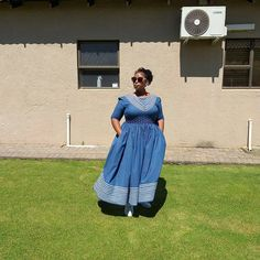 Spiffy Fashion Simple shweshwe dresses we love It - Shweshwe Dresses, African Maxi Dresses, Latest African Fashion Dresses, African Print Fashion, African Attire, African Wear, South African Traditional Dresses, Traditional Outfits, Seshoeshoe Designs
