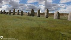 4,500-year-old megalithic super-henge found buried one mile from Stonehenge.  A reconstruction depicting how the row of megalithic stones would have looked. The giant monoliths are up to 15 feet tall, and are believed to be sarsen stones – sandstone blocks which were also used for the heelstone and circle uprights at Stonehenge. We don't think there's anything quite like this anywhere else in the world. This is completely new and the scale is extraordinary.