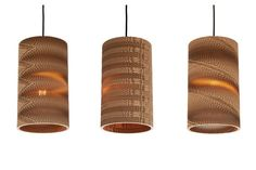 Collection of cardboard hanging lamps by Wishnya, via Behance