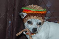 Hamburger Dog Hat #crochet pattern by Sara Sach.