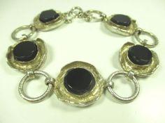 925-Sterling-Silber-Armband-Onyx-Space-Age-70er-Modernist-silver-bracelet-dd-N4