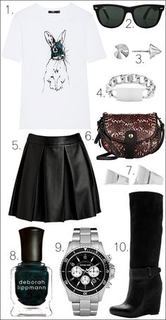 LE FASHION BLOG OUTFIT COLLAGE GET THE LOOK Markus Lupfer Sequin Bunny RABBIT GRAPHIC ILLUSTRATION Tee Ray-Ban Outsiders Oversized Wayfarer Sunglasses Bing Bang Silver Vivienne Stud Earrings Nicholas ID Bracelet Jérôme Dreyfuss Momo Mini Bag ONE by Boundary Vegan Imitation Leather Skirt Maison Martin Margiela Set of 2 Rings in Silver Deborah Lippmann Nail Polish in Don't Tell Mama Michael Kors Men's Madison Watch Vince Greta Knee High Wedge Boots