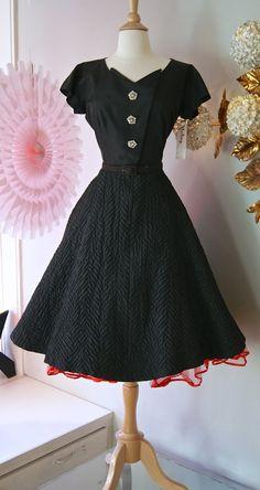 Vintage 50s dress // 1950's Black Taffeta Party by xtabayvintage, $198.00