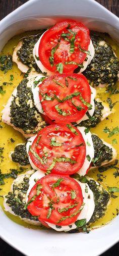 Basil Pesto Tomato Mozzarella Chicken Bake – low carb, high protein, keto friendly, gluten free recipe.