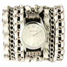 "The perfect accent for work apparel and casual weekend ensembles, this statement-making cuff watch showcases a silver-hued chain band with white leather woven details.    Product: WatchConstruction Material: Alloy, stainless steel, leather and glassColor: White and silverFeatures:  Lobster claspGlass has a protective mineral coatingWraps around wrist three times Three chainsAccommodates: Battery - includedDimensions: Overall: 0.25"" H x 20"" W x 1"" WFace: 1"" DiameterCleaning and Care: Wipe ..."