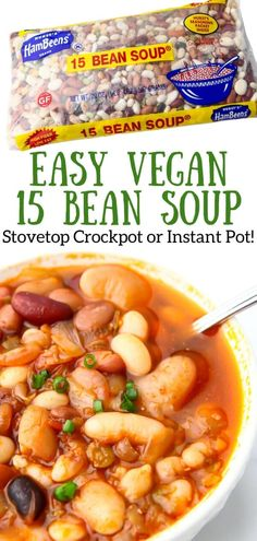 This smokey 15 bean soup is a protein-packed easy to make soup with shelf-stable ingredients. Plus it's a healthy, affordable way to satisfy your whole family.  It's easy to make on the stovetop, or in the crockpot or instant pot too.