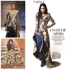 Add a regal yet contemporary touch to your wedding outfit with the Gaurav Gupta Asymmetric Brocade Jacket. Jackets paired with traditional Indian outfits are the current hot trend! Featured in Harpers Bazaar Bride India magazine's November 2014 issue.  By Ana Bhatt