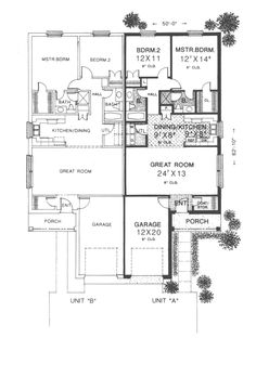 Twin Springs Ranch Home Plan 036D-0123 | House Plans and More  Nice plan -but- needs woodburning Fireplace in each unit!
