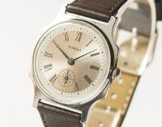 Vintage men's watch Pobeda wrist watch silver shiny by SovietEra, $67.00