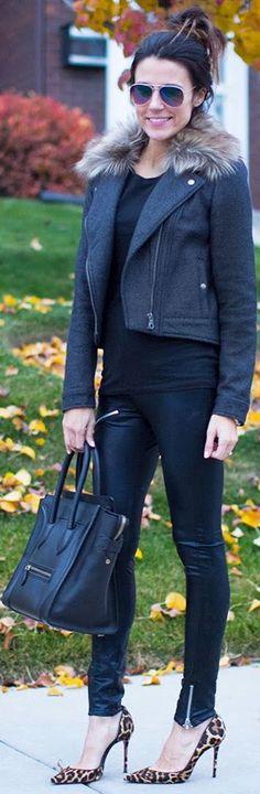 #Black #Fur (I hope it's faux fur)  by Hello Fashion