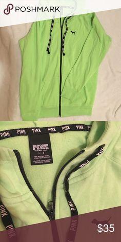 Lime Green PINK Victoria Secret Zip Up Hoodie Lime Green, Zip Up, Hoodie, Size Large, Fits Like New, 60% cotton 40% polyester, PINK Victoria's Secret Tops Sweatshirts & Hoodies