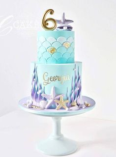 Mermaid under the sea cake Little Mermaid Cakes, Mermaid Birthday Cakes, Little Mermaid Parties, First Birthday Cakes, 5th Birthday, Bolo Sofia, Sirenita Cake, Ocean Cakes, Themed Cakes