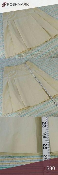 Brooks Brothers 346 8 Cream Yellow Pleated Skirt Brooks Brothers 346 Sz 8 Cream Yellow Pleated Stretch Cotton Skirt Knee Length Brooks Brothers Skirts Midi