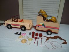 I'd play with it today if i could ♡. Vintage Barbie Jeep Horse Trailer with Horses Accessories 1973 | eBay