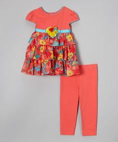 Coral Floral Ruffle Tunic & Leggings - Toddler & Girls by Youngland #zulily #zulilyfinds