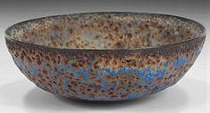 Gertrude and Otto Natzler / crater bowl-glazed earthenware, burst bubble glaze