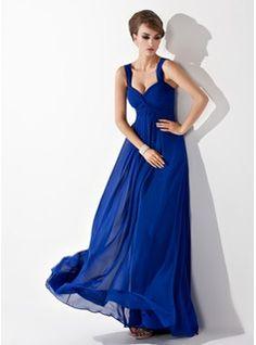 In Pool! Empire Sweetheart Floor-Length Ruffle Zipper Up Regular Straps Sleeveless Royal Blue Fall General Plus Chiffon Bridesmaid Dress