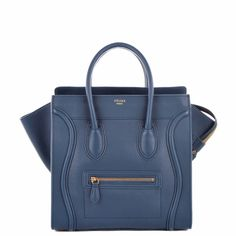 Celine Luggage Tote (30CM) in navy smooth calf leather.