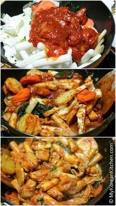 Spicy Korean Chicken (Dak Galbi, 닭갈비) | MyKoreanKitchen.com