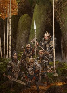 These hardy dwarves are sometimes away from their caves for long periods, scouting and patrolling the borders. They spend this time watching for invaders, and fighting bandits and thieves who encroach on dwarvish territory. They are powerful fighters in a melee, and from a distance their deftly thrown axes can rival the power and accuracy of a human archer.