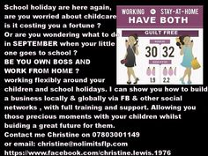 MUMS & DADS it's back to school would you like to earn some money and still be there for the children. GET IN TOUCH TODAY, I CAN HELP.